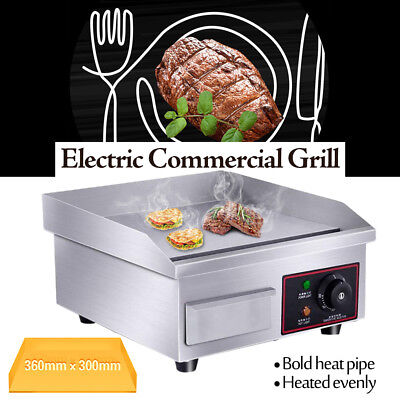 "14"" Electric Countertop Griddle Flat Top Commercial Restaurant Grill BBQ 1500W"