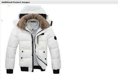 Mens Winter Duck Down Jacket Coats Thick Fur Collar Hooded Outwear Overcoat New