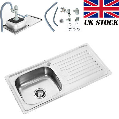 UK  Double 1.5 Bowl Stainless Steel Kitchen Sink Complete Plumbing Kit New