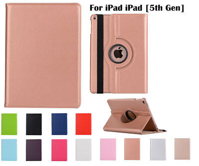"""360°Rotate PU Leather cover case for Apple iPad [5th Gen] 9.7"""" (2017)"""