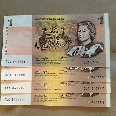 4 x Consecutively numbered $1.00 Australian Bank Notes, Uncirculated