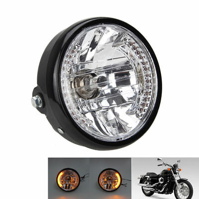 "Universal 7"" Motorcycle Headlight Lamp LED Turn Signal Indicator For Cafe Racer"