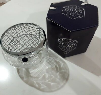 Vintage stuart crystal Rose bowl + grille.Diana 30792. As new in box.