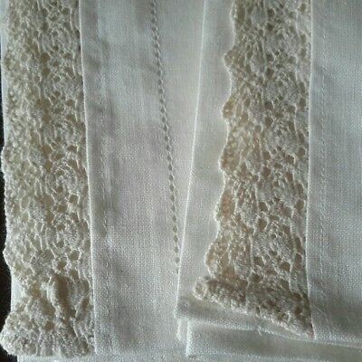 Set of 2 Vintage Linen Chairback Covers Esse Lithuania Excellent Condition