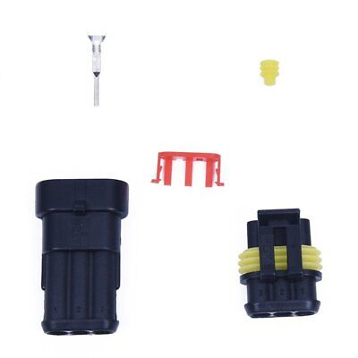 5X(5 Kit 3 Pin Way Waterproof Electrical Wire Connector Plug W7H8)
