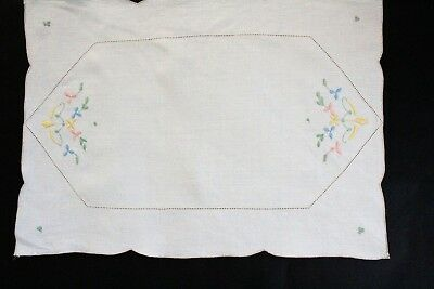 Vintage cream linen embroidered tray cloth.
