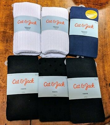 NWT 6 Pairs L (12-14) Girls' Tights - Navy, White, Black, Polka-Dot - Cat & Jack