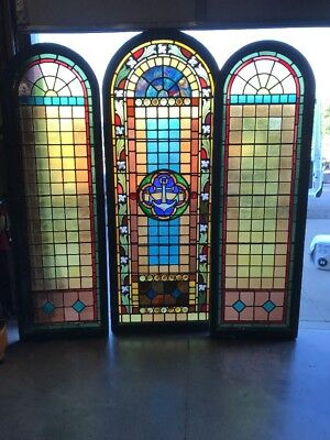 AN three-piece large arch top landing Stainglass window set 85.5 x 32.25