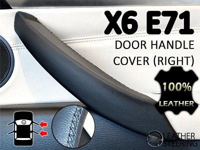 Passenger Door Handle BMW X6 E71 E72 Leather Cover - (Black Stitch, RIGHT)