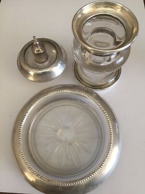 Frank M. Whiting Sterling Silver & Glass Smoking Set, Lighter, Holder, Ashtray