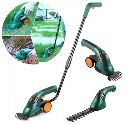 7.2V Cordless 2in1 Garden Grass Cutter Hedge Trimmer Edging Shrub Shear Handle