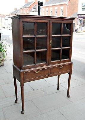 Antique Queen Anne Early C18th Oak Bookcase