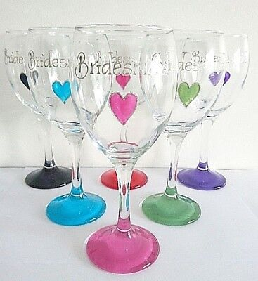 Bridesmaid Wine glass Favour Personalised hand painted Any Wording Colour Choice