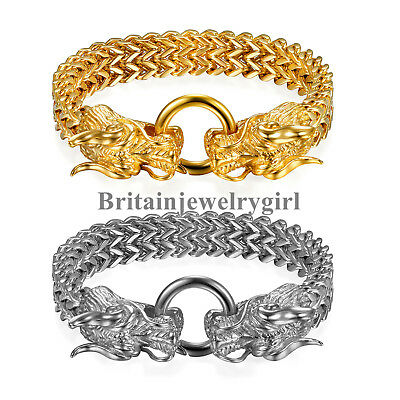 Gothic Biker Stainless Steel Dragon Head Franco Link Curb Chain Bracelet for Men