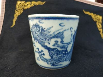 Chinese old porcelain bowl Blue and white porcelain hand painting Dragon tea cup