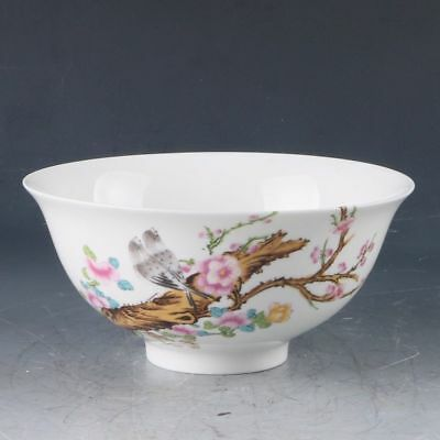Chinese Color Porcelain Hand-painted Flower & Birds Bowl W Qing  Qianlong Mark