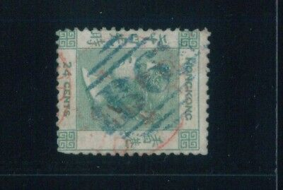( HKPNC ) HONG KONG 1862 QV 24c NO WATERMARK AMOY PAID IN RED FU SCARCE