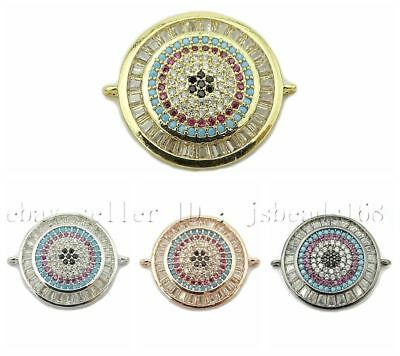 Multicolor Zirconia Gemstones Pave Round Disk Bracelet Connector Charm Beads