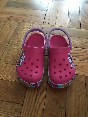 Girls Pink Crocs with Butterfly and Flowers design size 12/13