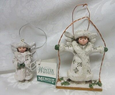 P. SCHIFFERL Midwest of Cannon Falls 2 WINTER WHITE Angel Ornaments