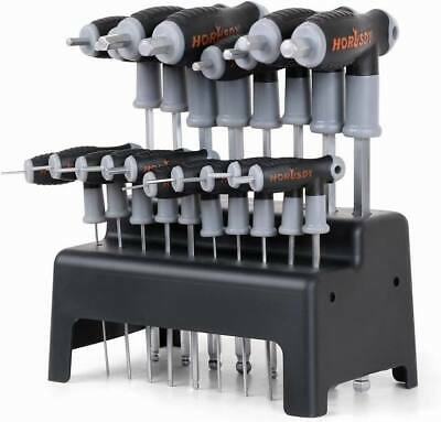 20 Pc SAE & Metric T Handle Allen Wrench Ball End Hex Key Set w/ Storage Stand