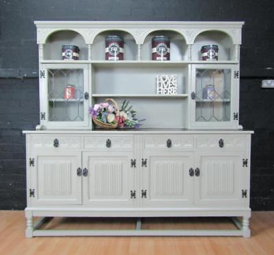Large OAK Welsh Dresser - OLD CHARM - Farrow&Ball No 18 FRENCH GRAY