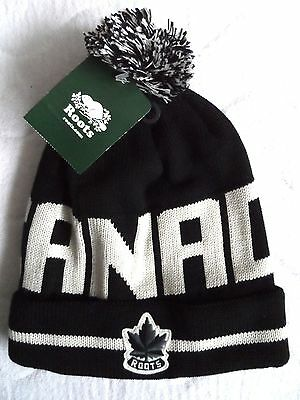 ROOTS CANADA Black Bobble TOQUE Beanie Hat Pompom Cuff Up or Slouchy MADE CANADA