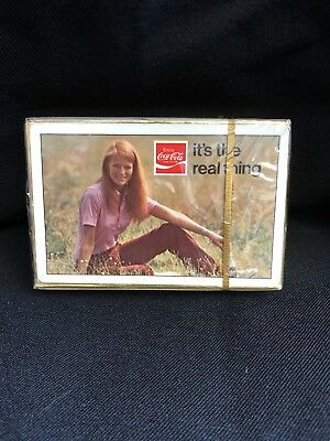 Vintage RARE Coca-Cola Playing Cards Deck Factory Sealed Girl Front