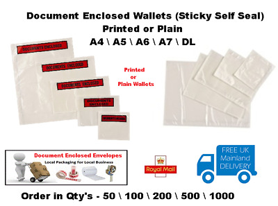 Document Enclosed Wallets - A7, A6, A5, DL, A4 Sizes - Printed or Plain - Sticky