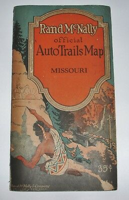 OFFICIAL AUTO TRAILS MISSOURI Rand McNally pocket map 1925 - large fold out map