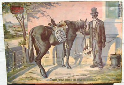 """Rare 1906 Original 21"""" x 30"""" GREEN RIVER WHISKEY Sign-Paper on Cardboard Litho"""