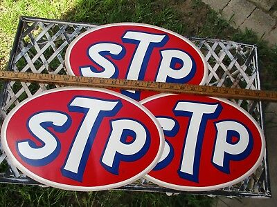 """Lot of three HUGE big vintage STP decals stickers NOS 12 1/2"""" by 8 1/4"""""""