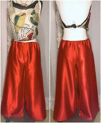 70s Red Liquid Satin Super Wide Leg Bellbottoms Pants