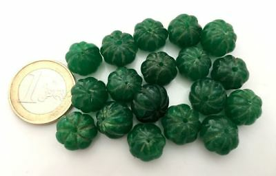Lot 18 Big Natural Emerald Handmade Carved Melon Beads - Cuentas Antigua