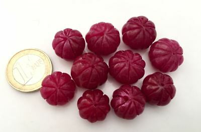 Lot 10 Big Natural Ruby Handmade Carved Melon Beads - Cuentas Antigua Abalorios