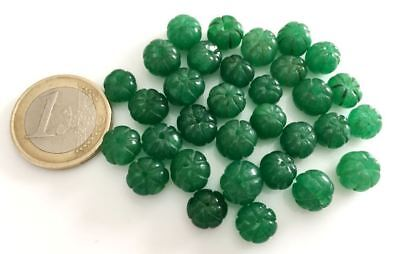 Lot 32 Natural Emerald Handmade Carved Melon Beads - Cuentas Antigua Abalorios