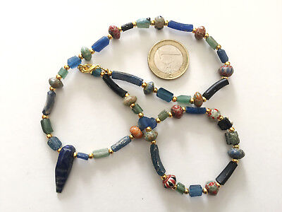 Lot 1 Necklace Roman Hand Carved Glass and Islamic Beads - Handmade