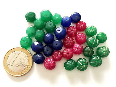 32 Natural Ruby Emerald Sapphire Handmade Carved Round Beads - Cuentas Antigua