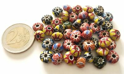 Lot 48 Old Islamic Chevron Hand Carved Glass Beads - Handmade