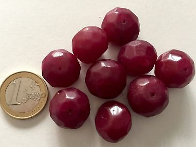 Lot 9 Big Natural Ruby Handmade Carved Faceted Beads- Cuentas Antigua Abalorios