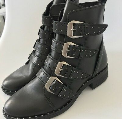 4df9161479e Women s Shoes Steve Madden PURSUE Buckle Studs Ankle Boot Leather Black  Size 5