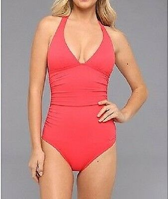 7814b482407f DKNY One Piece Sz 10 Swimsuit Coral Pink Solid Halter Maillot Swimwear  D62381
