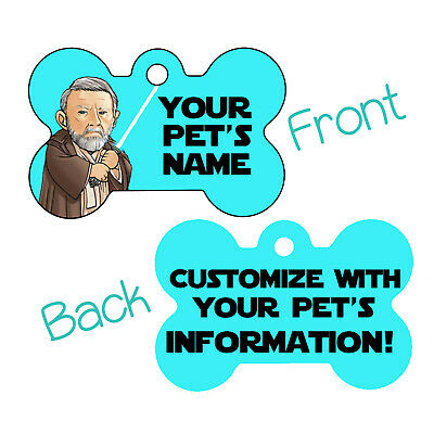 Star Wars Obi Wan Kenobi Double Sided Pet Id Dog Tag Personalized for Your Pet
