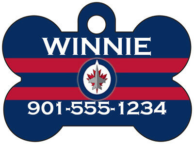 Winnipeg Jets Custom Pet Id Dog Tag Personalized w/ Name & Number