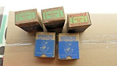"""Vintage AMERICAN SCREW CO 4 BOXS Of 1"""" by 1/4""""  Round Head Slotted Stove Bolt"""