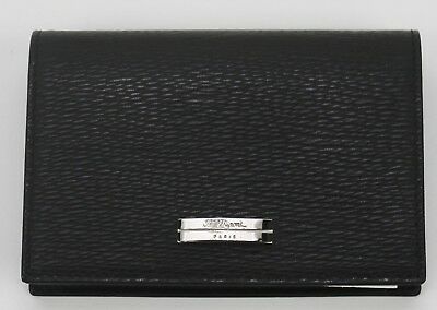 S.T. Dupont Black Leather Business Card Holder #74102 NIB Retails $250