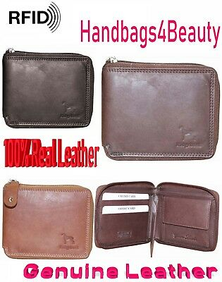 RFID NFC BLOCKING Leather Mans Wallet Zipped Zip Notes & Coins Wallets Full Zip