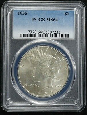 1935 Peace Dollar $1 Pcgs Certified Ms Mint State 64 (233)