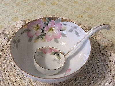 Antique Vintage Hand Painted Nippon Mayo Condiment Bowl with Ladle 1920's-30's