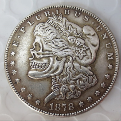 Hand Carved US 1878cc Morgan Dollar Coin Hobo Creative Skull Free Shipping